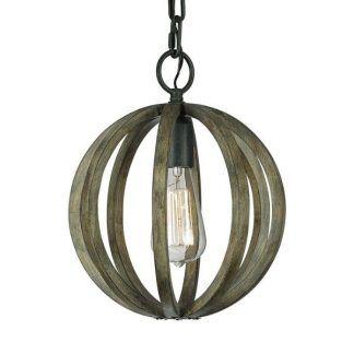 drewniana zielonkawa lampa wisząca z żarówką - okragła