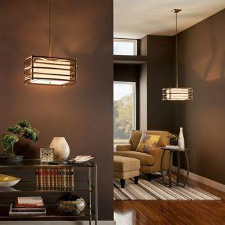 drewniane lampy wiszące aranżacja brązowy salon
