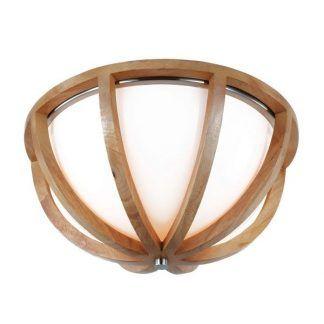 drewniany plafon z kloszem do przedsionka - naturalna