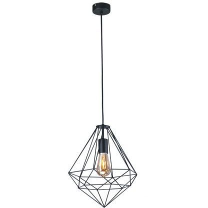 druciak czarny na dekoracyjną żarówkę - wisząca ażurowa lampa