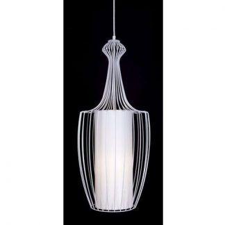 druciana biała lampa wisząca podłużna