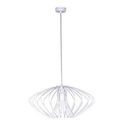 druciana biała lampa wisząca w stylu nowoczesnym - spłaszczona