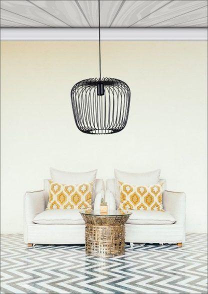 druciana czarna lampa wisząca aranżacja salon