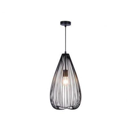 Druciana czarna lampa z podłużnym kloszem do salonu