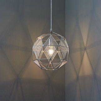 druciana geometryczna lampa wisząca srebrna