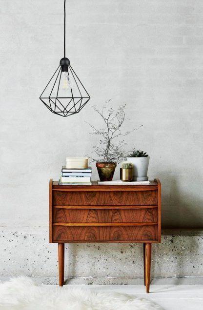 druciana lampa diament aranżacja salon
