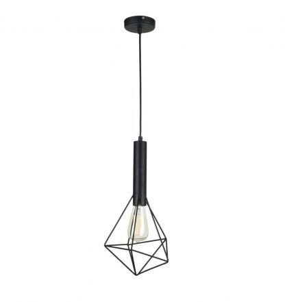 druciana lampa wisząc mały klosz czarna
