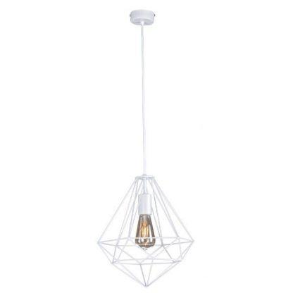 druciana lampa wisząca biała z szara żarówką