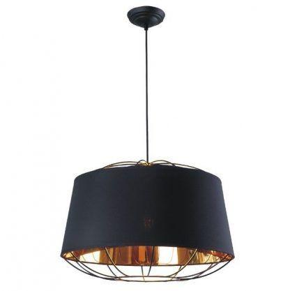 druciana lampa wiszaca czarna z abażurem - miedziane zdobienia