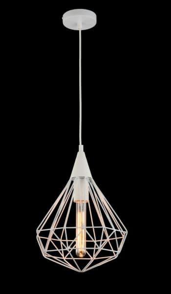 druciana lampa wisząca do salonu biała