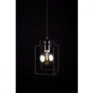 druciana lampa wisząca kształt słoika czarna