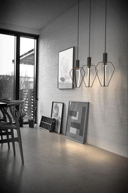 druciana lampa wisząca led aranżacja szary salon