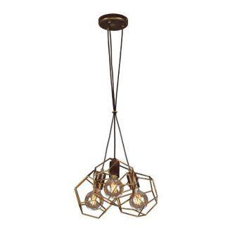 druciana lampa wisząca metalowe wielościany