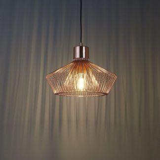druciana lampa wisząca miedziana do pokoju