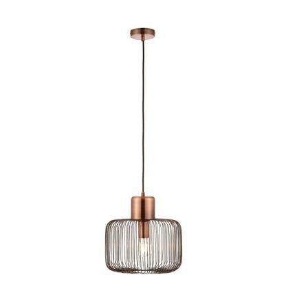 druciana lampa wisząca miedziana z żarówką