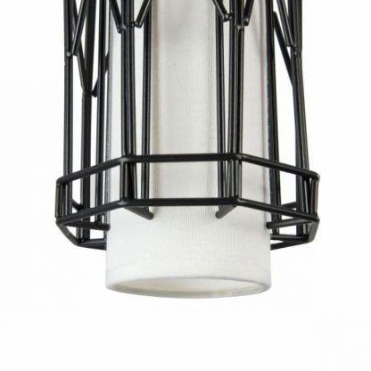 druciana lampa wisząca z białym abażurem