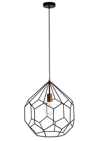 druciana lampa wiszaca z dekoracyjną żarówką - duży klosz