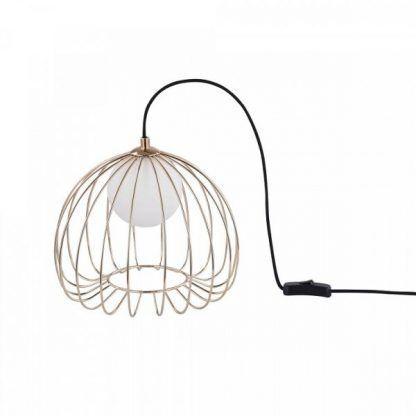 druciana lampa z miedzianych i mosiężnych drutów - stojąca
