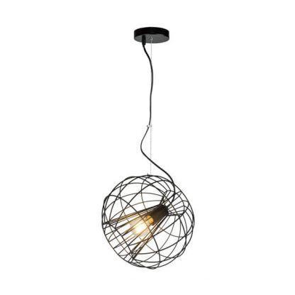 druciana okrągła lampa wisząca na lince stalowej - czarna nowoczesna
