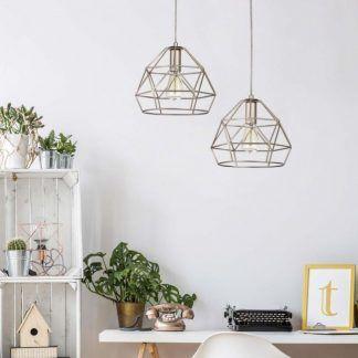 druciane lampy wiszące do gabinetu aranżacja