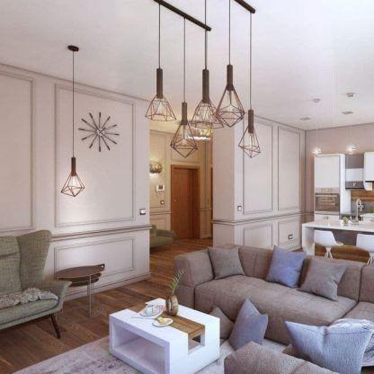druciane lampy wiszące do salonu aranżacja