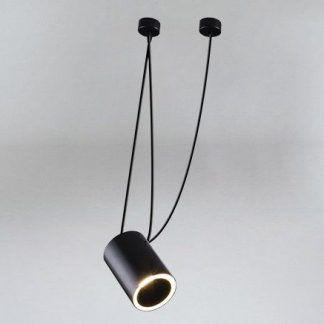 czarna lampa wisząca led podłużny klosz