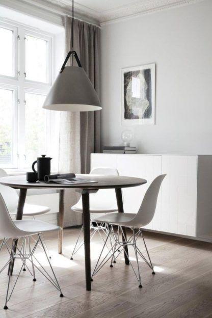 duża biała lampa wisząca skandynawska jadalnia