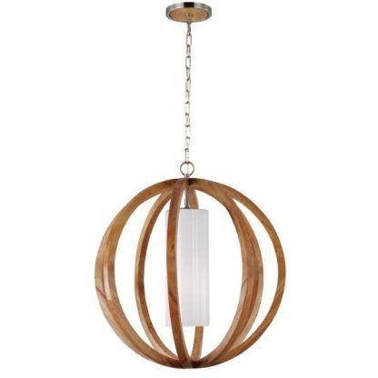 duża drewniana lampa wisząca do jadalni - naturalna