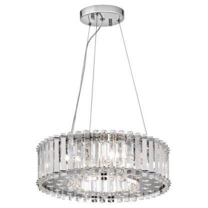 duża lampa kryształowa srebrna do salonu nad stół