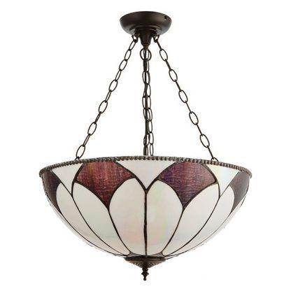 duża lampa sufitowa z witrażowym kloszem do salonu