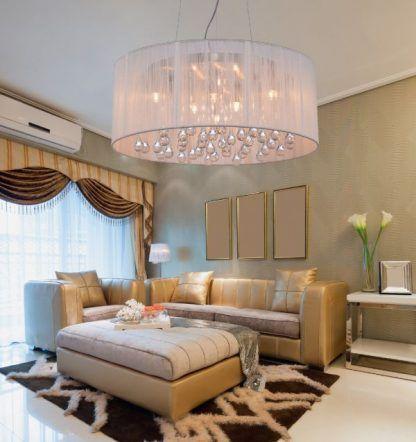 duża lampa wisząc materiałowy abażur z kulkami szklanymi