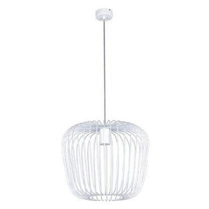 duża lampa wisząca biały klosz druciany do salonu