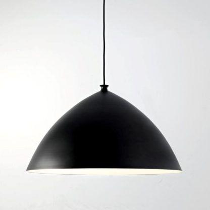 duża lampa wisząca czarny mat biała w środku