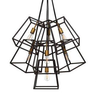 duża lampa wisząca do salonu ażurowe klosze brąz