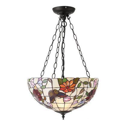 duża lampa wisząca jasny klosz ze szkła witrażowego