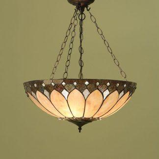 duża lampa wisząca na brązowych łańcuchach