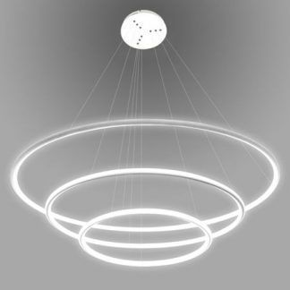 duża lampa wisząca regulowane okręgi led biała
