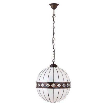duża lampa wisząca szklana kula brązowe detale