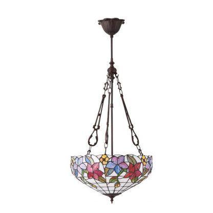 duża lampa wisząca w kwiaty klosz ze szkła