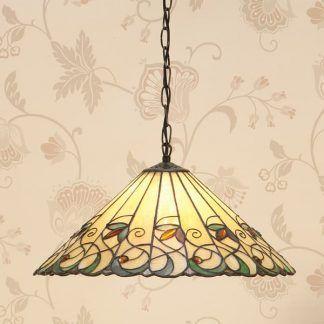 duża lampa wisząca witrażowy wzór