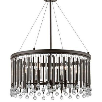 duża lampa wisząca z kryształkami brązowa