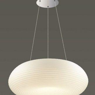 duża lampa wisząca z owalnym kloszem biała