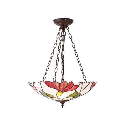 duża lampa wisząca z witrażowego szkła w kwiaty