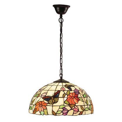 duża lampa wisząca z witrażowym kloszem w motyle