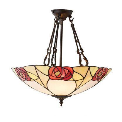 duża lampa wisząca ze szkła witrażowego klosz w róże