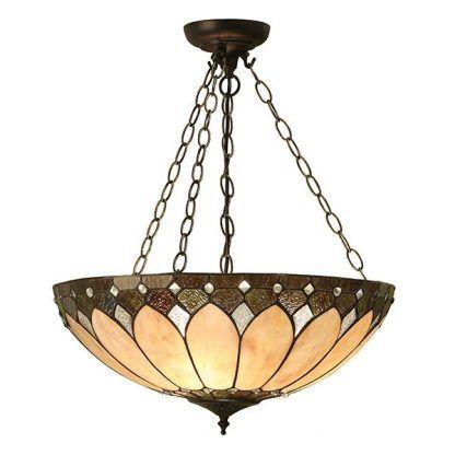 duża lampa witrażowa do salonu odcienie brązu