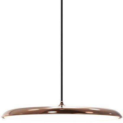 duża płaska lampa led miedziany klosz do jadalni