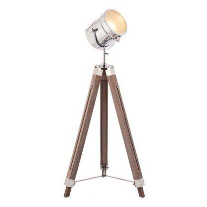 Duży reflektor nowoczesny na drewnianej podstawie