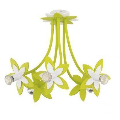 duży zielony żyrandol dziecięcy w kształcie kwiatków