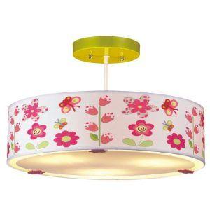 dziecięca lampa sufitowa w różowe kwiatki